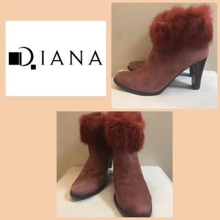 ダイアナ(DIANA)のダイアナ  パープルピンクスエード  ファーショートブーツ(ブーツ)