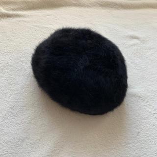 カンゴール(KANGOL)のKangol ふわふわ ファー ベレー帽 黒(ハンチング/ベレー帽)