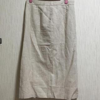 セレクト(SELECT)のひざ下リネンスカート select moca(ひざ丈スカート)