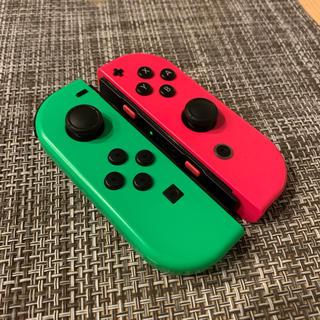 Nintendo Switch - スイッチ ジョイコン ネオングリーン ピンク ストラップ付き 485