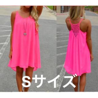 新品 蛍光カラー ワンピース 【 ピンク Sサイズ 】(ミニワンピース)