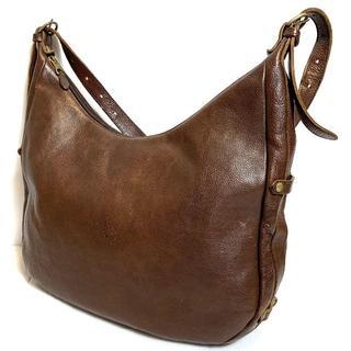イルビゾンテ(IL BISONTE)のイルビゾンテ オールレザー ロゴ ショルダーバッグ ダークブラウン 鞄(ショルダーバッグ)