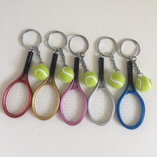 5本 テニス キーホルダー  テニスラケット ボール ハンドメイド カスタム(キーホルダー)