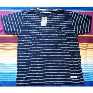 デラックス(DELUXE)の新品 Deluxe Clothing ボーダーポケット Tシャツ S ネイビー (Tシャツ/カットソー(半袖/袖なし))