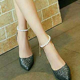新品送料込★おしゃれパンプス★ベルト付★パーティ★結婚式★靴ブラック23.0cm(ハイヒール/パンプス)