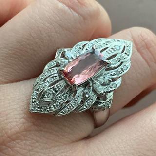 Pt900 インペリアルトパーズとダイヤモンドのゴージャスリング(リング(指輪))