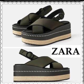 ZARA - 完売品 新品 ZARAウェッジサンダル カーキ 39 送料込み