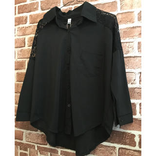 ZARA - レースブラウス レースシャツ シフォンシャツ デザインシャツ ブラック