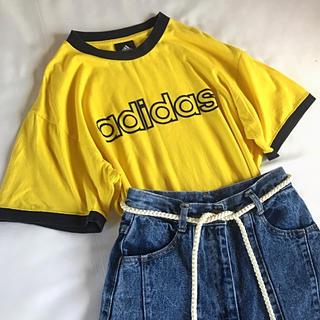 adidas - used adidas アディダス イエロー ロゴ Tシャツ 古着 ヴィンテージ