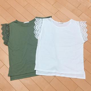 シマムラ(しまむら)の袖レース半袖Tシャツ 2枚セット(Tシャツ(半袖/袖なし))