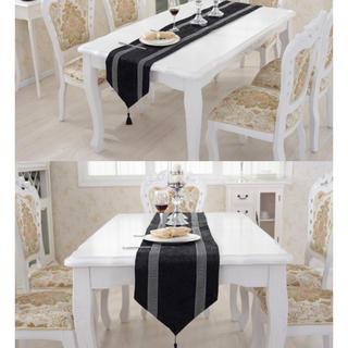 フランフラン(Francfranc)のテーブルランナー + ランチョンマットセット ブラック×ビジュー (テーブル用品)