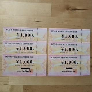 ビックカメラ株主優待券6000円分