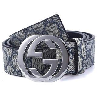 Gucci - 【海外購入品】GUCCI 男女共用 ベルト 銀×紺
