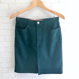 【未使用】 膝上 スカート タイト グリーン系 アースカラー M 67(ひざ丈スカート)