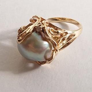 【美品】k14 南洋真珠 ダイヤモンド リング(リング(指輪))