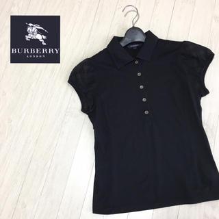 バーバリー(BURBERRY)のバーバリーロンドン お袖チェック 半袖カットソー ホースマークあり サイズ1 黒(カットソー(半袖/袖なし))