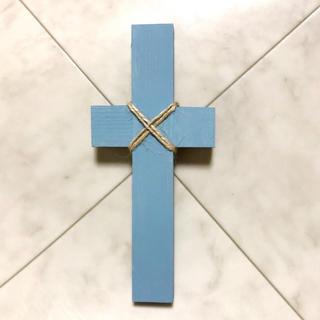 クロスオブジェ ▪️ウッドクロス ブルー▪️ハンドメイドタペストリー(インテリア雑貨)