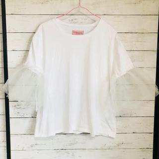 Honey mi Honey - ハニーミーハニー袖チュール付きTシャツ