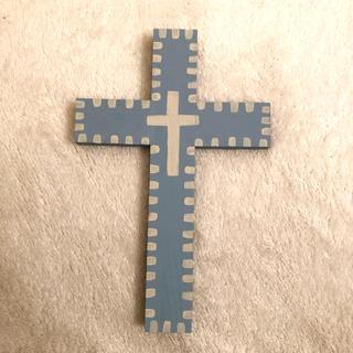 クロスオブジェ ▪️ウッドクロス ブルー▪️ハンドメイドタペストリー十字架(インテリア雑貨)
