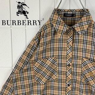 バーバリー 胸ロゴ ゆるだぼ 90s ロング丈 長袖 ノバチェック シャツ 人気