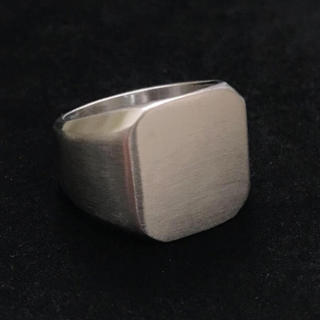 STAINLESS STEEL カレッジリング  スクエア ツヤ消し シルバー (リング(指輪))