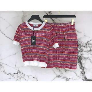シャネル(CHANEL)の人気美品 新いCHANELシャネルニット半袖+ショートスカート(S)(ひざ丈スカート)
