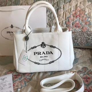 PRADA - プラダ 2way カナパ トートバッグ 白