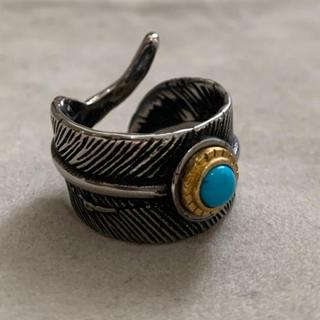 高品質STAINLESS STEEL ターコイズ フェザーリング (リング(指輪))