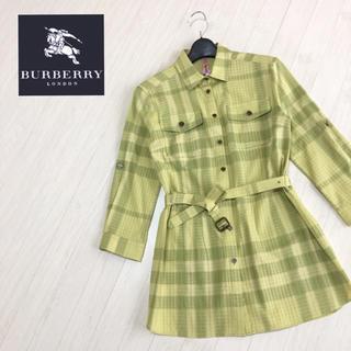 バーバリー(BURBERRY)の美品☆バーバリーロンドン 袖ロールアップ シャツワンピ 38サイズ(ミニワンピース)
