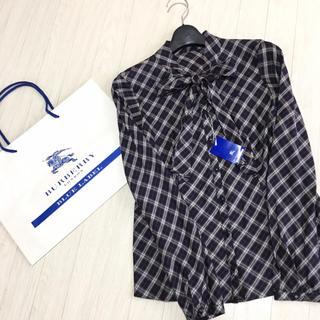 バーバリーブルーレーベル(BURBERRY BLUE LABEL)の新品タグ付き☆バーバリーブルーレーベル リボン 長袖ブラウス 36サイズ (シャツ/ブラウス(長袖/七分))