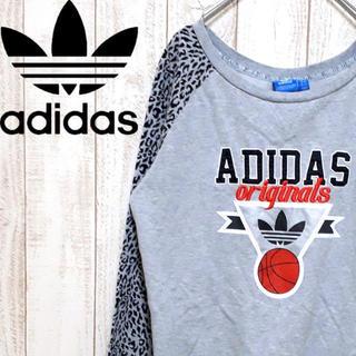 アディダス(adidas)のアディダス 薄手スウェット トレーナー レオパード柄 切り替え(トレーナー/スウェット)