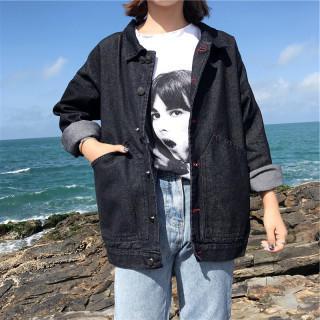 ゆったり 黒 デニム ジャケット レディース Gジャン おしゃれ 秋物(Gジャン/デニムジャケット)