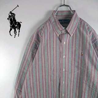 ラルフローレン(Ralph Lauren)の404 ラルフローレン ビッグサイズ ストライプ シャツ ポニー刺繍(シャツ)