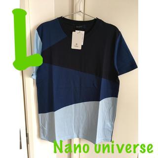 ナノユニバース(nano・universe)の新品 ナノユニバース パネルシャツ Tシャツ メンズ サイズL ブルー(Tシャツ/カットソー(半袖/袖なし))