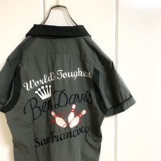 BEN DAVIS - 【刺繍シャツ】 ベンデイビス ボーリングシャツ 開襟シャツ 胸ロゴ 古着 90s