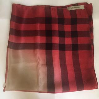 バーバリー(BURBERRY)のバーバリー シルク100% チェック柄スカーフ(バンダナ/スカーフ)