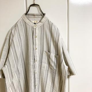 Santa Monica - 【バンブーレーヨン製】 ALVANRO ノーカラーシャツ ストライプシャツ 古着