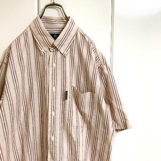 REGAL - 【麻製】 リーガルフレンド  ストライプシャツ ボタンダウン ベージュ  半袖