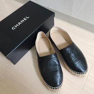 CHANEL - CHANEL エスパドリーユ レザー 黒
