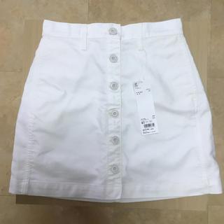 ユニクロ(UNIQLO)のコットン ミニスカート オフホワイト 61(ミニスカート)