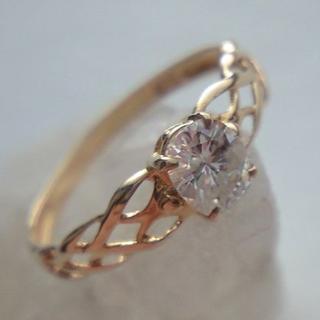 ★K18YG 天然ダイヤモンドピンキーリング 0.27ct 4.2号★(リング(指輪))