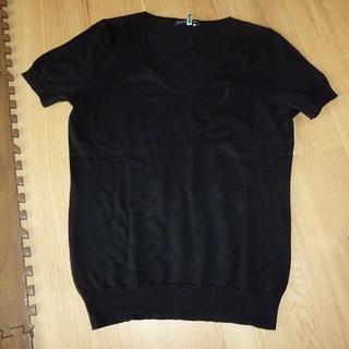 ラルフローレン(Ralph Lauren)のRALPH LAUREN ラルフローレン 半袖ニットカットソー 黒色 Lサイズ(カットソー(半袖/袖なし))
