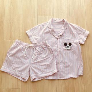 GU - GU ミッキー柄パジャマ ルームウェア ピンク パープル ストライプ 上下セット