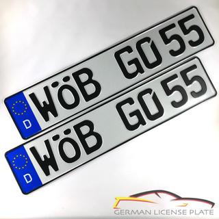 フォルクスワーゲン(Volkswagen)の★新品★ 「WOB GO 55」 2枚セット 本物ドイツユーロナンバープレート(車外アクセサリ)