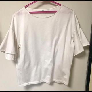 ユニクロ UNIQLO フリルスリーブTシャツ Sサイズ