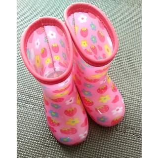 ニシマツヤ(西松屋)の長靴 14センチ ピンクの花柄(長靴/レインシューズ)
