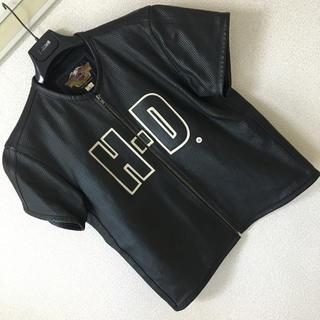 Harley Davidson - ◆レア◆ハーレー ダビッドソン◆パンチング レザー HDワッペン 半袖 ブラック
