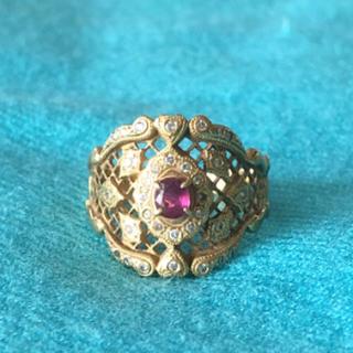 18金 ルビー ダイヤ ゴージャス 幅広 指輪 リング 保証書あり(リング(指輪))