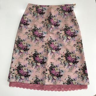 花柄  レース  スカート   ピンク(ひざ丈スカート)
