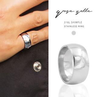 リング 指輪 フラットシャイニー シルバー ステンレス 甲丸 鏡面 メンズ(リング(指輪))